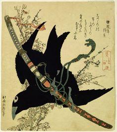 """The Little Raven with the Minamoto Clan Sword"", Katsushika Hokusai. (via)"