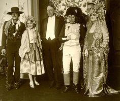 Douglas Fairbanks, Mary Pickford, William Randolph Hearst & Charlie at a Hearst costume party