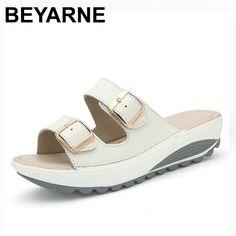 BEYARNE Comfortable women sandals new fashion genuine leather shoes women  slip on shoes summer women s open 1d7da6458