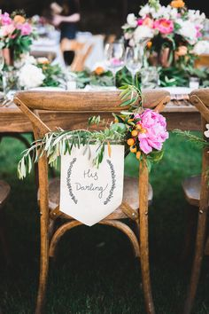 wedding chair decor - photo by Studio Castillero http://ruffledblog.com/vibrant-winery-wedding-in-california