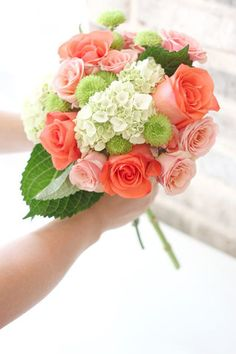 Pretty Wedding Bouquet Comprised Of: Pink Roses, Coral Roses, Green Button Mums, Green Snowball Viburnum & Green Foliage Bridal Bouquet Coral, Bride Bouquets, Bridesmaid Bouquet, Floral Bouquets, Diy Bouquet, Bouquet Flowers, Bridesmaid Ideas, Prom Flowers, Wedding Flowers