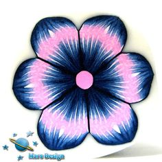 Polymer clay cane PINK BLUE flower  cane by Mars by marsdesign,