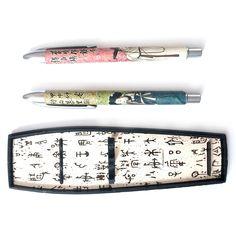 2P Korean Traditional Ball Point Pen Set Korean alphabet Pattern for gift