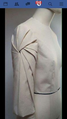 Shoulder fabric manipulation/ pleating. Fabric origami. <3