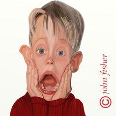 "Macaulay Culkin in ""Solo en casa"" by John Fisher Cartoon Faces, Funny Faces, Cartoon Art, Cartoon Characters, Funny Caricatures, Celebrity Caricatures, Caricature Artist, Caricature Drawing, Foto Beatles"