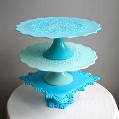 Turquoise Blue Milk Glass Pedestal Cake by BarkingSandsVintage