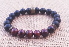 Men's Bracelet Matte Onyx Red Tiger Eye Bracelet/Stretch Beaded Gemstones Bracelet/Wrist Mala/Grounding/Energy/Mens Stone Yoga Bracelet