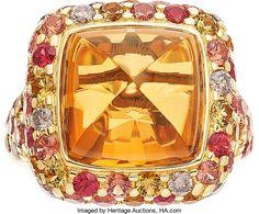 Michael Beaudry Citrine, Diamond, Sapphire, Gold Ring. ...