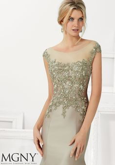 Evening Gown 71102 Larissa Satin with Beaded Lace Appliques