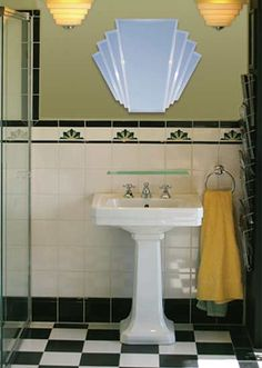 12 Ideas For Designing An Art Deco Bathroom See all our stylish art deco bathrooms design ideas. Art Deco inspired black and white design. Art Deco Decor, Casa Art Deco, Arte Art Deco, Art Deco Design, Design Color, Decoration, Interiores Art Deco, Art Deco Bathroom, Art Deco Mirror