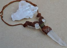 Clear Quartz Necklace/ Macrame/ Healing Stone/ by SpiritYSol, $45.00