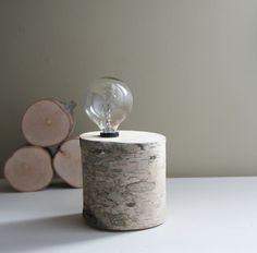 white birch forest lamp  natural white birch by urbanplusforest, $60.00