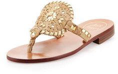 Jack Rogers Georgica Cork/Metallic Thong Sandal