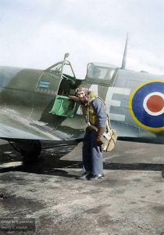Sqn Leader Geoffrey Wilson Northcott (J15088) of 402 Sqn RCAF with his Spitfire Mk.V 'City of Winnipeg', serial number EP120.