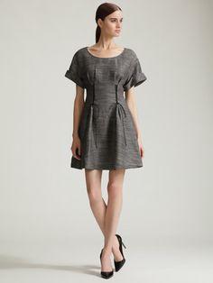 3.1 Phillip Lim Lace-Up Tea Dress in Grey Multi
