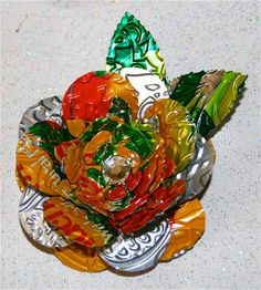 Recycled Soda Can ArtLarge Multi Layered 3D Flower by apmemory, $6.95