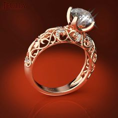 360 View of Vines Created White Sapphire Women's Engagement Ring