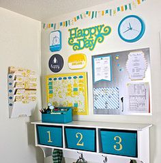 I like the bins with a shelf AND hooks. Lots of storage for a small spot  Inspiration for bringing in bright colors - Blog: The Homes I Have Made