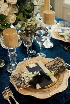 navy and gold wedding table decor / http://www.himisspuff.com/navy-blue-and-gold-wedding-ideas/6/