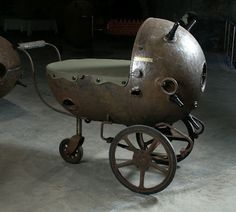Explosive Steampunked Furniture : Estonian sculptor Mati Karmin has innovated a way for old Soviet naval mines to become usable furniture. From tables, to beds and even baby carriages, the rusted mines are recycled into steampunked home furnishings.