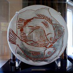 """Picasso ceramic work  Trois Poissons Sur Fond Gris   1957  16"""""""