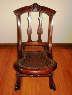 Antique Folding Wooden Rocking Chair Child Size W/Cane Seat Civil War Era  1800s