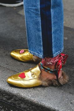 Loafers | Bandana | Golden shoes | Inspiration | M ore on Fashionchick