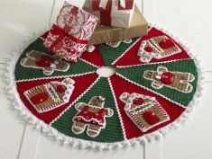 PB013 Gingerbread Tree Skirt Crochet Pattern.  This tree skirt is full of sweetness with completely decorated gingerbread just waiting to be covered with presents. A slit along one wedge and circle cut out of the center of the circle makes is easy to fit the tree skirt under the tree and in place for the holiday season.
