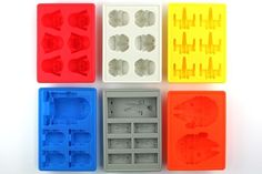 Star Wars ice cube trays: Darth Vader, Stormtrooper, X-Wing,  R2-D2, Han Solo in carbonite, Millenium Falcon