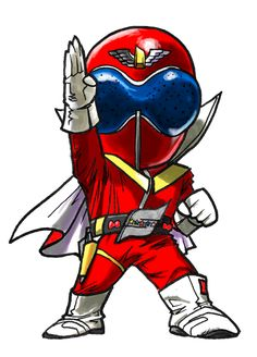 Akarenger [Chibi] by on DeviantArt Power Rangers Series, Go Go Power Rangers, Kamen Rider Toys, Pawer Rangers, Chibi Characters, Cute Japanese, Cute Chibi, Manga Illustration, My Childhood Memories