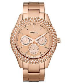 Just added to my #MacysFavoriteThings  Fossil Watch, Women's Chronograph Stella Glitz Rose Gold Ion Plated Stainless Steel Bracelet 37mm ES3003 $135