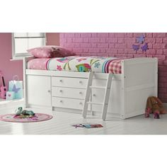 Tori White Mid Sleeper Bed with Bibby Mattress at Homebase.