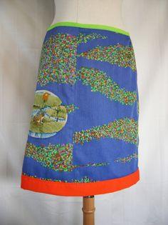 Klein Kikkertje borduurwerk A-lijn rok upcycle katoen door LUREaLURE