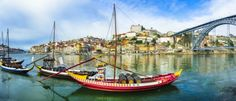 Portugal Panorama, beautiful Porto with traditional boats. First Class Hotel, Portugal Vacation, Day Trips From Lisbon, Douro Valley, Vacation Packages, Best Places To Travel, Amazing Destinations, Coast, City