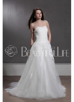 $202.99  Delightful Strapless Tulle #Ball #Gown #Wedding #Dress With Appliques