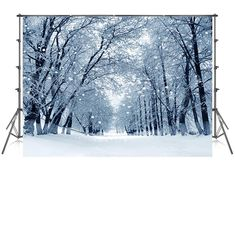 10x10 Ft White Accumulated Snow Covered Road Photography Backdrop Winter Photo Studio Background Christmas Photography Backdrop Road Photography Video Backdrops