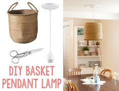 DIY Basket Pendant Lamp - tutorial. For more DIY pendant lamps ideas to pin, visit pinterest.com/ilikethatlamp