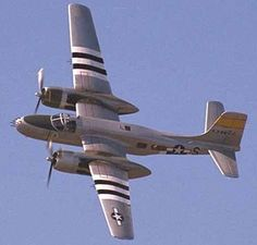 "The Douglas A-26 Invader was the last aircraft designated as an ""attack bomber"". In 1944 the A-26 Invader became the fastest US bomber of World War Two, upon its delivery to the 9th Air Force in Europe. Not to be confused with the B26 Marauder. It continued in service after WWII, as a nightfighter, & over 400 served in the Korean War."