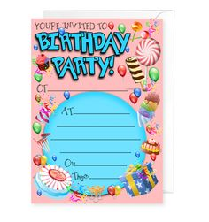 20 x Birthday Party Invitations Birthday Party Invitations, Party Themes, Greeting Cards, Birthday Invitations