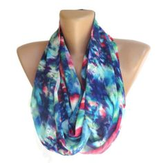 eternity neon color infinity loop scarf Tube scarf circle scarves Chiffon scarf trendscarf colorful waves blue pink mint green dark blue