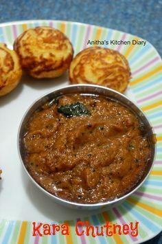 Kara Chutney - Chilli Garlic Chutney - side dish for idli dosa Curry Recipes, Vegetarian Recipes, Cooking Recipes, Healthy Recipes, Veggie Recipes, Cooking Time, Veg Recipes Of India, Indian Food Recipes, Veg Dishes