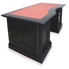stilvoller englische schreibtisch in mahagoni furniert messing beschl ge und der schreibplatte. Black Bedroom Furniture Sets. Home Design Ideas