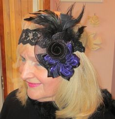 Casual Elegance by Beverly Girolomo : Wedding Headpiece ~ Fascinator ~ for the holidays 1920s Headpiece, Flapper Headband, Fascinator Headband, Headdress, Vintage Headbands, Lace Headbands, Chic Wedding, Paris Wedding, Wedding Veil