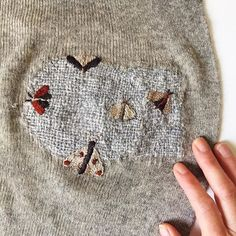 Visible mending of moth holes with embroidered moths. Embroidery Art, Embroidery Stitches, Sewing Hacks, Sewing Projects, Visible Mending, Bazaar Crafts, Make Do And Mend, Textiles, Boro