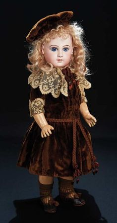 French Bisque Portrait Bebe, Jumeau, Brown Velvet Dress and Hat from Parisian Store 5500/7500 Auctions Online | Proxibid