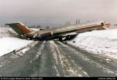 On  Feb. 21, 1986, a Us Air flight slid down and overshot the runway on landing at Erie International Airport.