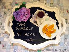 The Red Chair Blog: Fun Ways To Welcome House Guests - DIY Chalkboard Tray