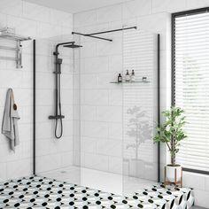 Arezzo Matt Black 1200 x 800 Grey Tinted Glass Wet Room Screen + Tray) Wet Room Shower Screens, Walk In Shower Designs, Walk In Shower Tray, Room Tiles, Safety Glass, Wet Rooms, Shower Enclosure, Glass Shower, Black Walls