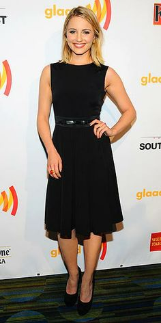 DIANNA AGRON  Sticking to the classics in a black A-line dress with matching belt and pumps, plus jewels by Graziela and Melinda Maria, the Glee grad attends the GLAAD Media Awards in San Francisco.