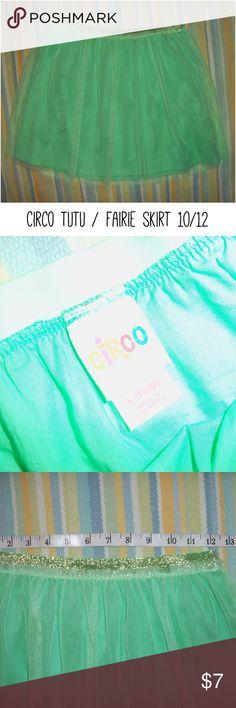 "Circo light green tutu/ fairie skirt size LG 10/12 Gold, stretchy waistband. Spring 2016 Line @ Target.  Waist ~25"" unstretched Length ~14"" Circo Bottoms Skirts"